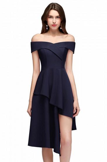 BMbridal A-line Asymmetrical Short Off-the-shoulder Burgundy Prom Dress_3