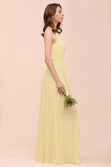 Affordable Daffodil Chiffon Sleeveless Long Bridesmaid Dress with Ruffle_6