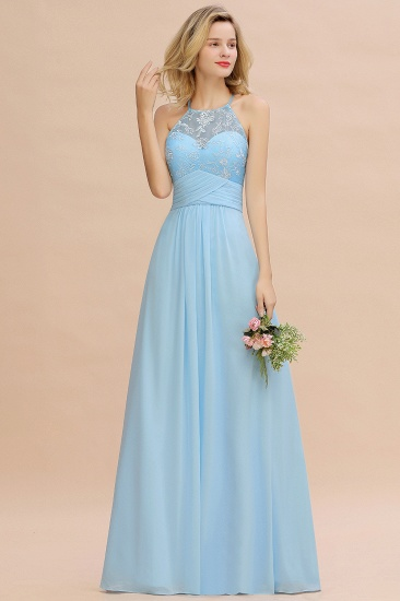 Elegant Jewel Ruffle Affordable Chiffon Bridesmaid Dress with Appliques_5
