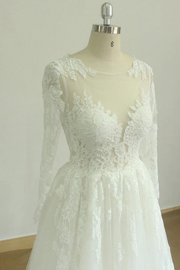 Gorgeous Longsleeves White Appliques Wedding Dress Tulle Lace Jewel Bridal Gown On Sale_4