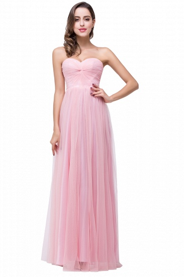 Affordbale A-line Tulle Sweetheart Ruffle Pink Bridesmaid Dress Online In Stock_1