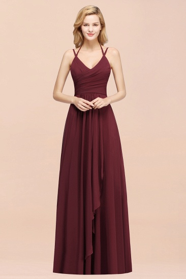 BMbridal Affordable Chiffon Burgundy Bridesmaid Dress With Spaghetti Straps_55