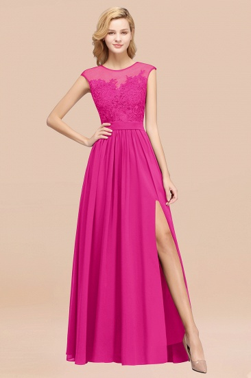 Affordable Scoop Lace Appliques Yellow Bridesmaid Dresses with Slit_9