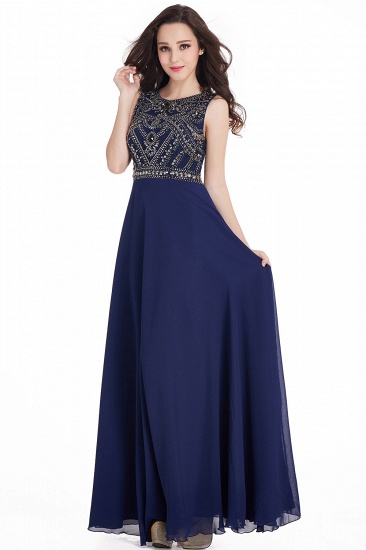 Gorgeous Sleeveless Crystal Long Prom Dress Chiffon Evening Gowns Online_8
