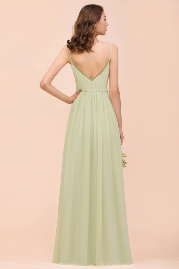BMbridal Popular V-Neck Sage Chiffon Affordable Bridesmaid Dress with Low Back_3