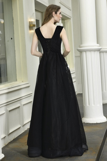 BMbridal Sexy Black Long Prom Dress V-Neck Evening Gowns With Lace Appliques_3