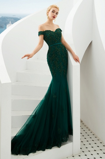 BMbridal Off-the-Shoulder Green Prom Dress Long Mermaid Evening Gowns With Lace Appliques_9