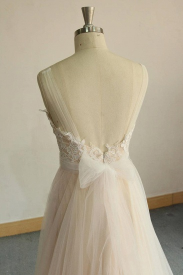 BMbridal Affordable Jewel Sleeveless A-line Wedding Dresses Tulle Lace Bridal Gowns Online_7