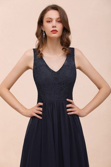 Affordable Lace V-Neck Navy Bridesmaid Dress with Open Back_9