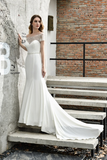 Mermaid Satin Lace Off the Shoulder Affordable Ivory Wedding Dress_4