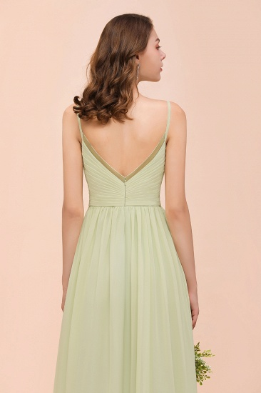 BMbridal Popular V-Neck Sage Chiffon Affordable Bridesmaid Dress with Low Back_9