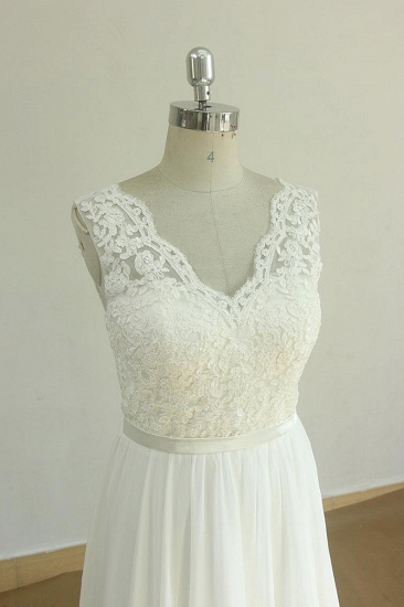 Elegant V-neck Sleeveless Lace Wedding Dresses White A-line Chiffon Bridal Gown On Sale_4