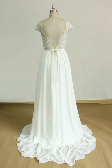 Gorgeous Appliques Chiffon Wedding Dress White Shortsleeves A-line Bridal Gowns On Sale_3