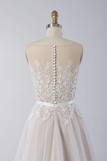 Affordable Sleeveless Jewel Appliques Wedding Dress Tulle Ruffles A-line Bridal Gowns On Sale_5