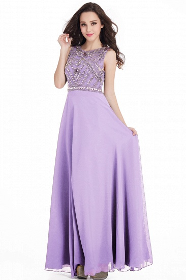 Gorgeous Sleeveless Crystal Long Prom Dress Chiffon Evening Gowns Online_5