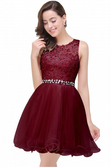 BMbridal A-line Knee-length Tulle Prom Dress with Appliques_3