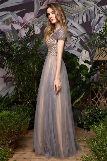 Glamorous Short Sleeve Tulle Prom Dress Long Evening Party Gowns Online_9