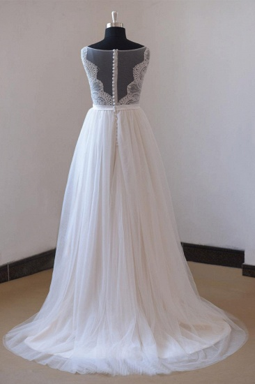 Affordable Appliques Tulle Sleeveless Wedding Dress White A-line Jewel Bridal Gowns On Sale_3