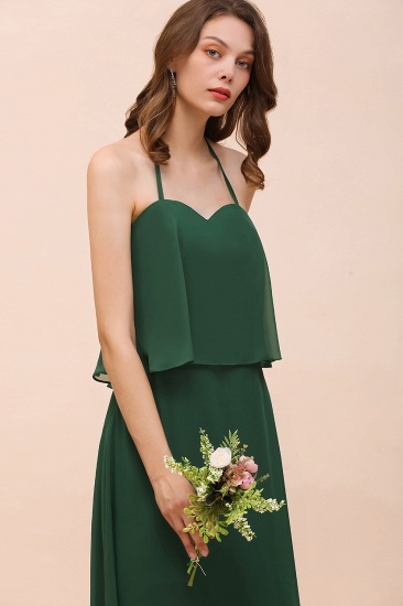 Chic Halter Sweetheart Dark Green Chiffon Bridesmaid Dress_9