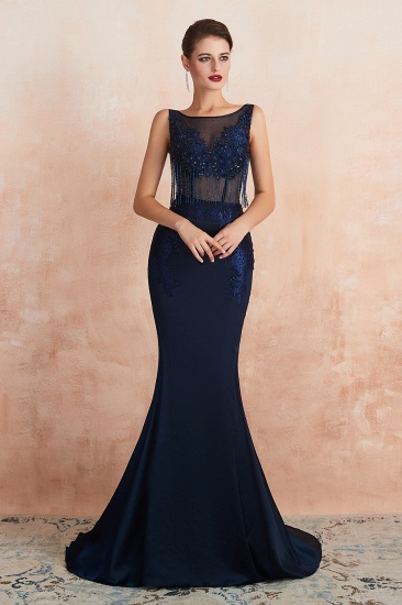 BMbridal Gorgeous Navy Mermaid Prom Dress With Appliques Tassels Online_5