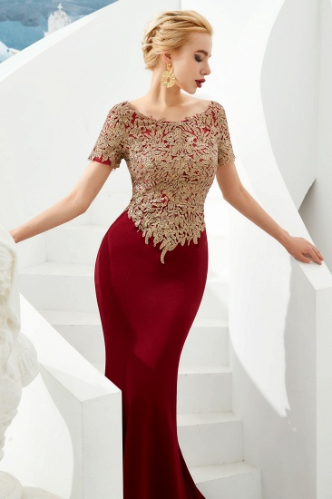 BMbridal Burgundy Short Sleeves Mermaid Prom Dress Long With Gold Appliques_4