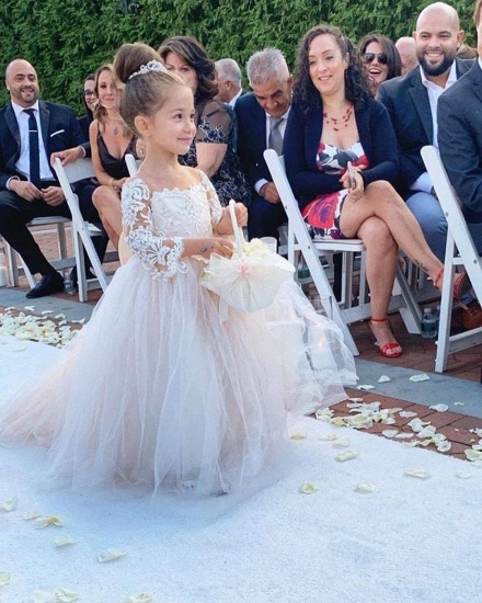 BMbridal Long Sleeve Tulle Lace Flower Girl Dress With Bowknot_5