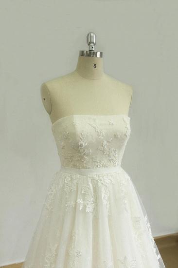 BMbridal Elegant Strapless Lace Tulle Wedding Dress Appliques White A-line Bridal Gowns On Sale_4