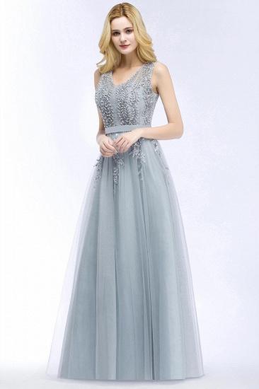 BMbridal Stylish V-neck Tulle Lace Long Evening Dress_4