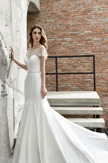 Mermaid Satin Lace Off the Shoulder Affordable Ivory Wedding Dress_7