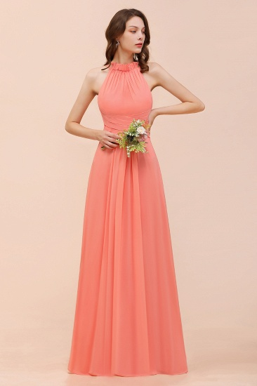 BMbridal Modest Halter Ruffle Coral Chiffon Affordable Bridesmaid Dress Online_4