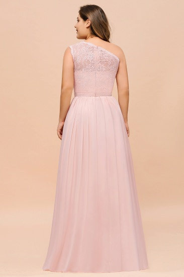 Chic One-Shoulder Pink Lace Bridesmaid Dresses with Slit_3