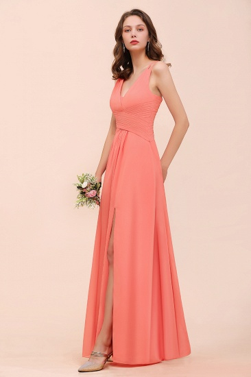 Glamorous V-Neck Ruffle Chiffon Long Bridesmaid Dress With Slit_8
