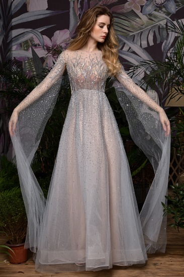 Luxurious Tulle Crystals Long Prom Dress Online With Ruffle Sleeves_2