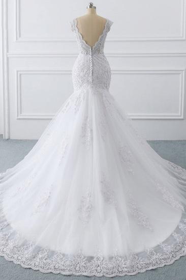 BMbridal Gorgeous V-neck Sleeveless Mermaid Wedding Dress Lace White Bridal Gowns On Sale_3