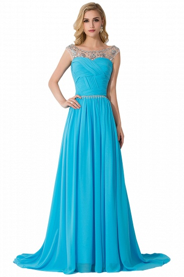BMbridal A-line Court Train Chiffon Party Dress With Beading_3
