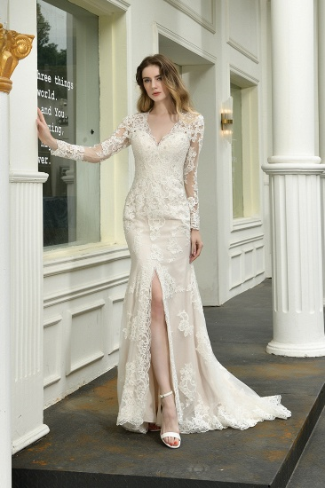 Exquisite Sheath V-Neck Long Sleeves Wedding Dress With Slit_4