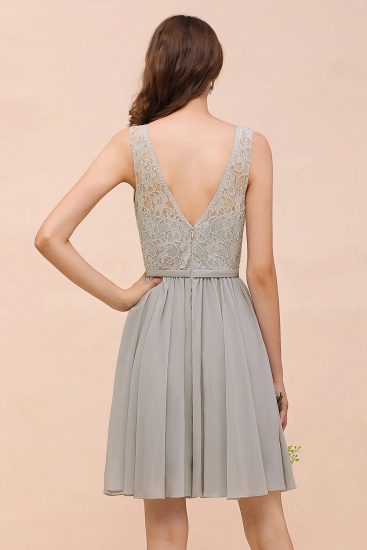 Affordable Lace V-Neck Silver Chiffon Short Bridesmaid Dress Online_3
