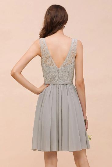 BMbridal Affordable Lace V-Neck Silver Chiffon Short Bridesmaid Dress Online_3