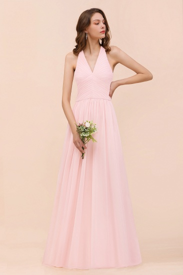 Chic V-Neck Blushing Pink Chiffon Affordable Bridesmaid Dress with Ruffle_6