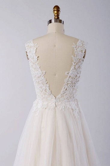 BMbridal Stylish V-neck Straps Tulle Wedding Dress Appliques A-line Ruffles Bridal Gowns On Sale_5