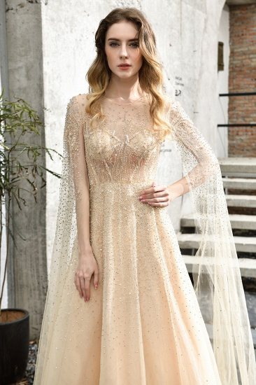 Luxurious Tulle Crystals Long Prom Dress Online With Ruffle Sleeves_14