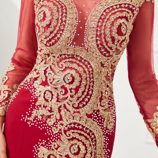 Burgundy Long Sleeve Mermaid Prom Dress With Gold Appliques Online_16