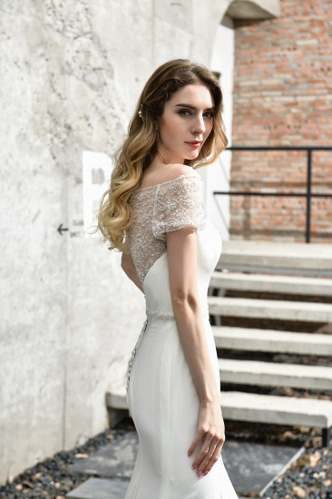 Mermaid Satin Lace Off the Shoulder Affordable Ivory Wedding Dress_11