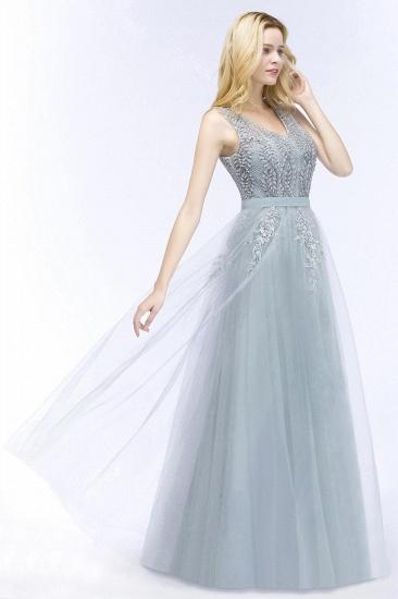BMbridal Stylish V-neck Tulle Lace Long Evening Dress_5