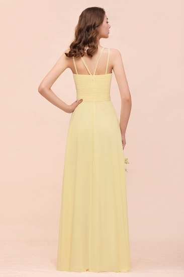 Affordable Daffodil Chiffon Sleeveless Long Bridesmaid Dress with Ruffle_3