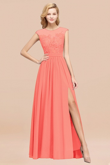 Affordable Scoop Lace Appliques Yellow Bridesmaid Dresses with Slit_45