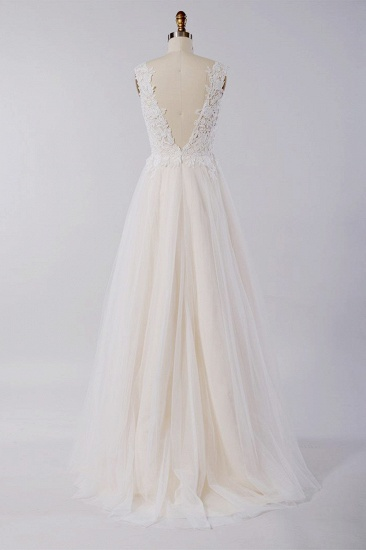 BMbridal Stylish V-neck Straps Tulle Wedding Dress Appliques A-line Ruffles Bridal Gowns On Sale_3