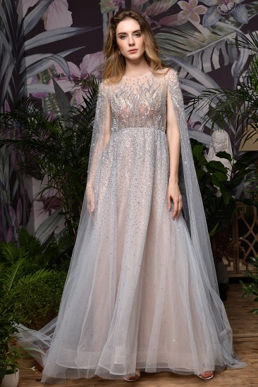 Luxurious Tulle Crystals Long Prom Dress Online With Ruffle Sleeves_5