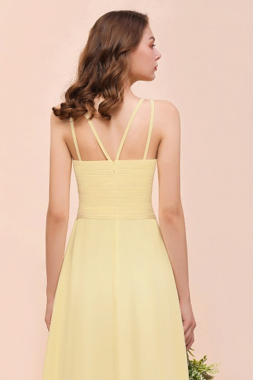 Affordable Daffodil Chiffon Sleeveless Long Bridesmaid Dress with Ruffle_9