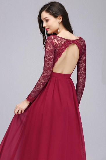 BMbridal Elegant A-line Chiffon Lace Long Sleeves Evening Dress_4